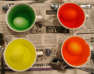 Food Coloring Dyed Easter Eggs