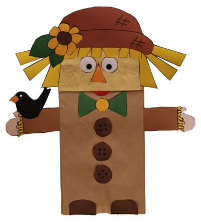 picture about Paper Bag Puppet Template Printable named Paper Bag Scarecrow Puppet
