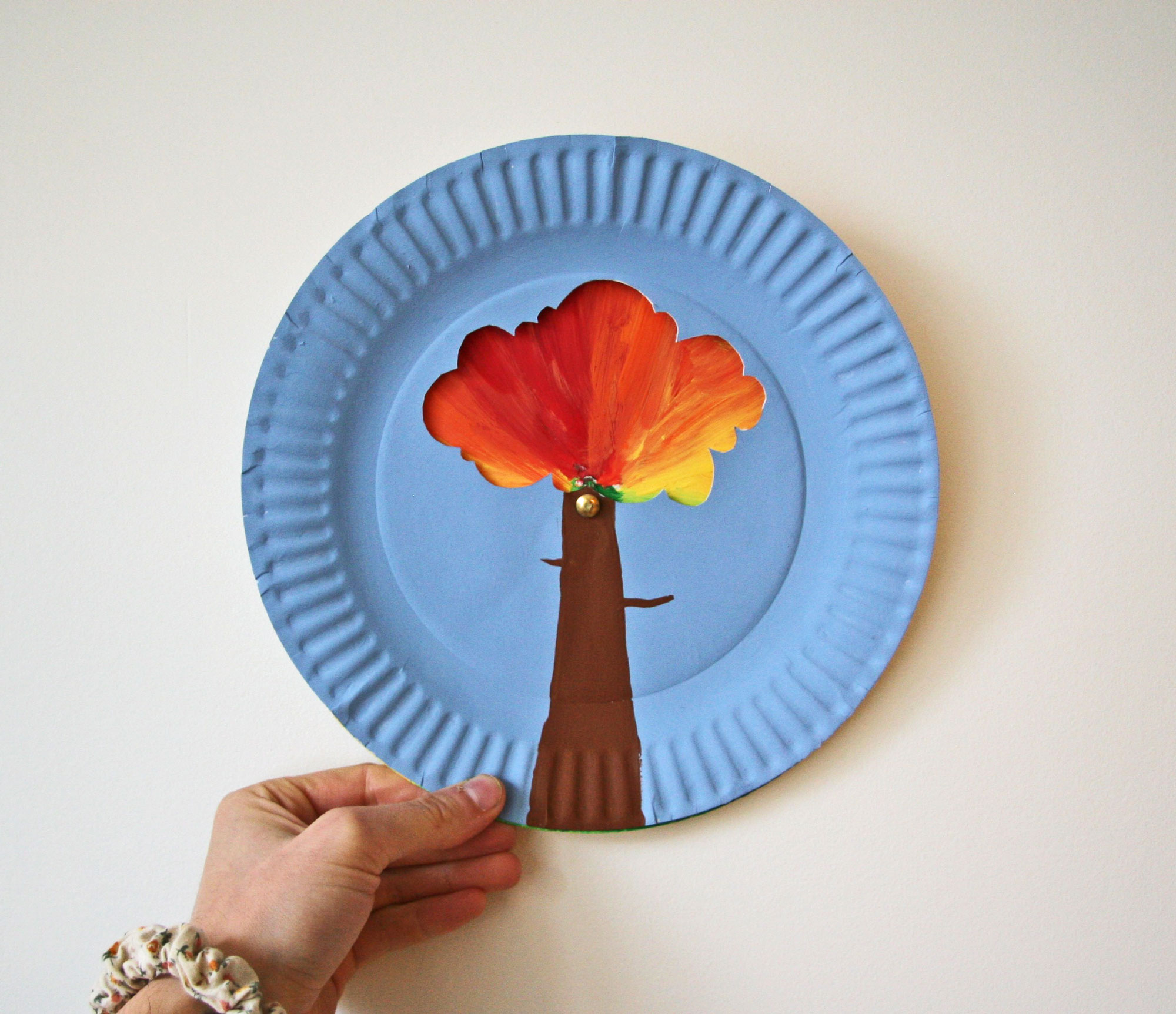 paper plate autumn tree