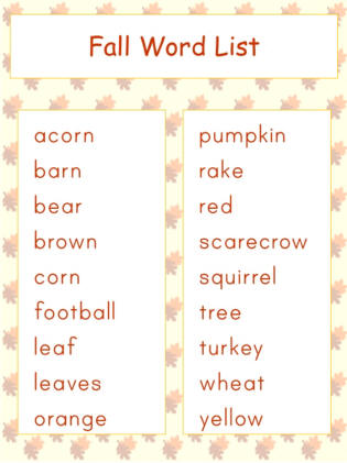 Worksheets Vocabulary Words For Kids autumn jigsaw word match worksheets vocabulary list dltks crafts for kids