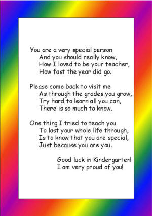 Preschool or Kindergarten Graduation Poem