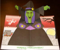 3D pop up witch card for Halloween