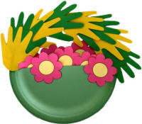 May Day Basket Paper Plate Handprint Craft