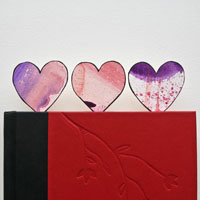 watercolor hearts paper clip bookmarks craft
