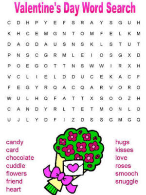 Valentine Coloring Pages on Valentine S Day Word Search