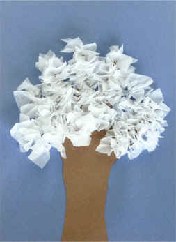tissue paper winter tree