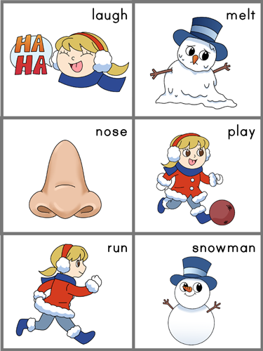 sentence sequencing cards for Frosty the Snowman