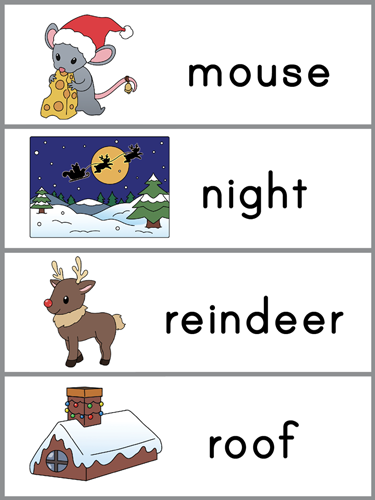 Night Before Christmas word wall template
