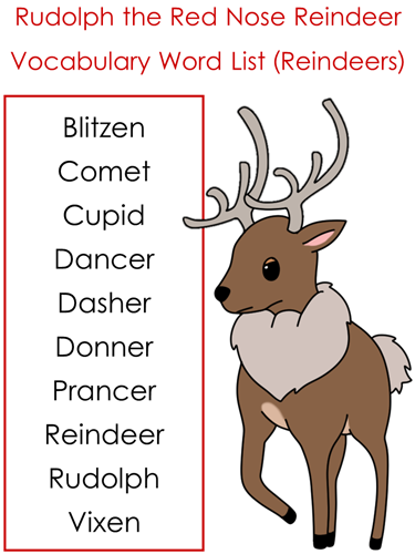 santa's reindeer vocabulary list