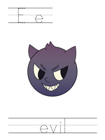 Printable print practice worksheet - Ee evil