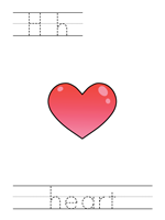 Printable print practice worksheet - Hh heart