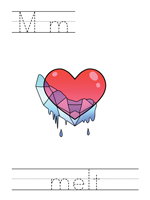 Printable print practice worksheet - Mm melt
