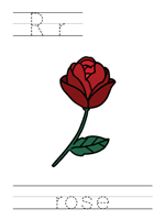 Printable print practice worksheet - Rr rose