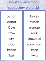 The Wee Snowman Vocabulary words